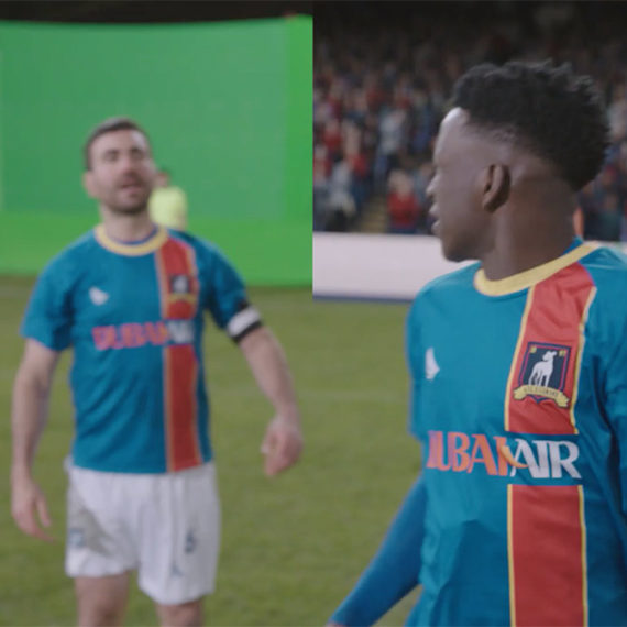 Green screen scene of soccer players