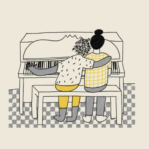 A drawing of two folks at a piano, one hugging the other