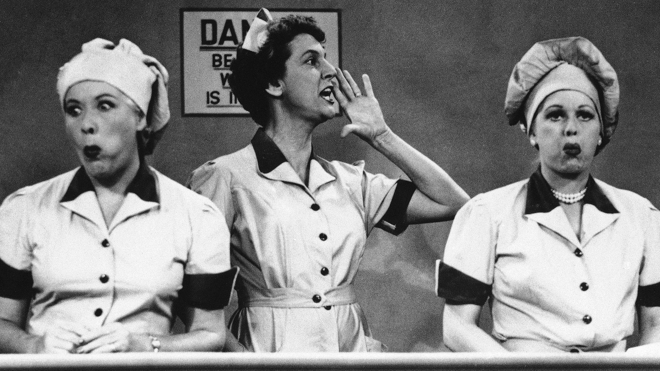 Black and white television image from I Love Lucy in the chocolate factory episode