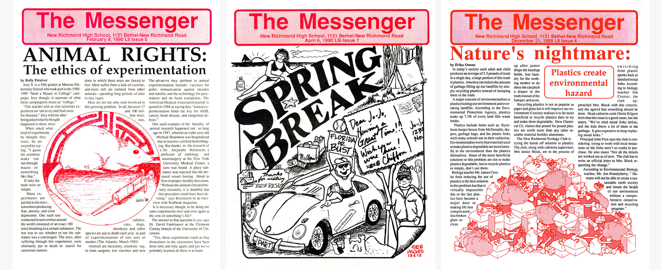 High School Newspaper covers from the 1990's