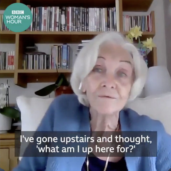 A capture of online video of a woman with captions and some branding for the BBC