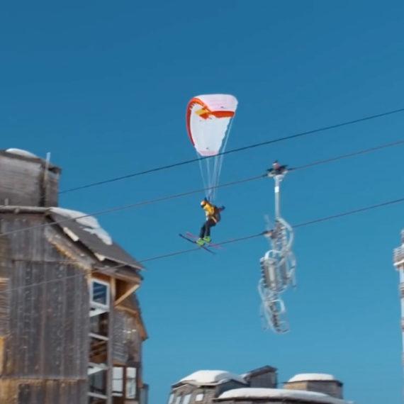 Speed skiing and parachuting