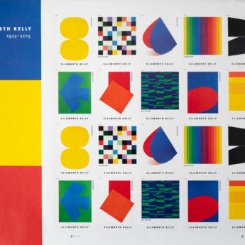 Geometric stamp designs in primary colors
