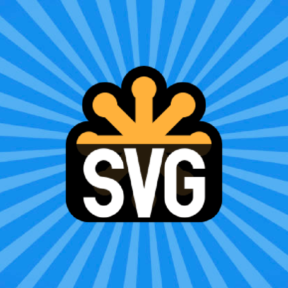 A graphic that says SVG with radiating lines