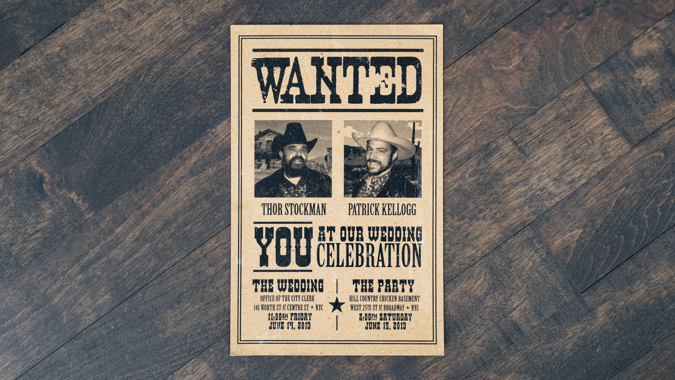 A wedding invitation done in the style of a western wanted flyer