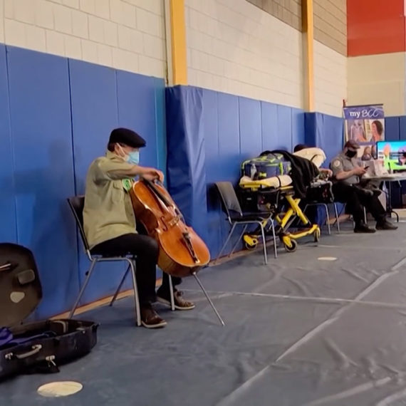After getting his second dose of the Covid-19 vaccine at a clinic at Berkshire Community College, Yo-Yo Ma got out his cello and performed a 15-minute impromptu concert for the others folks at the clinic.
