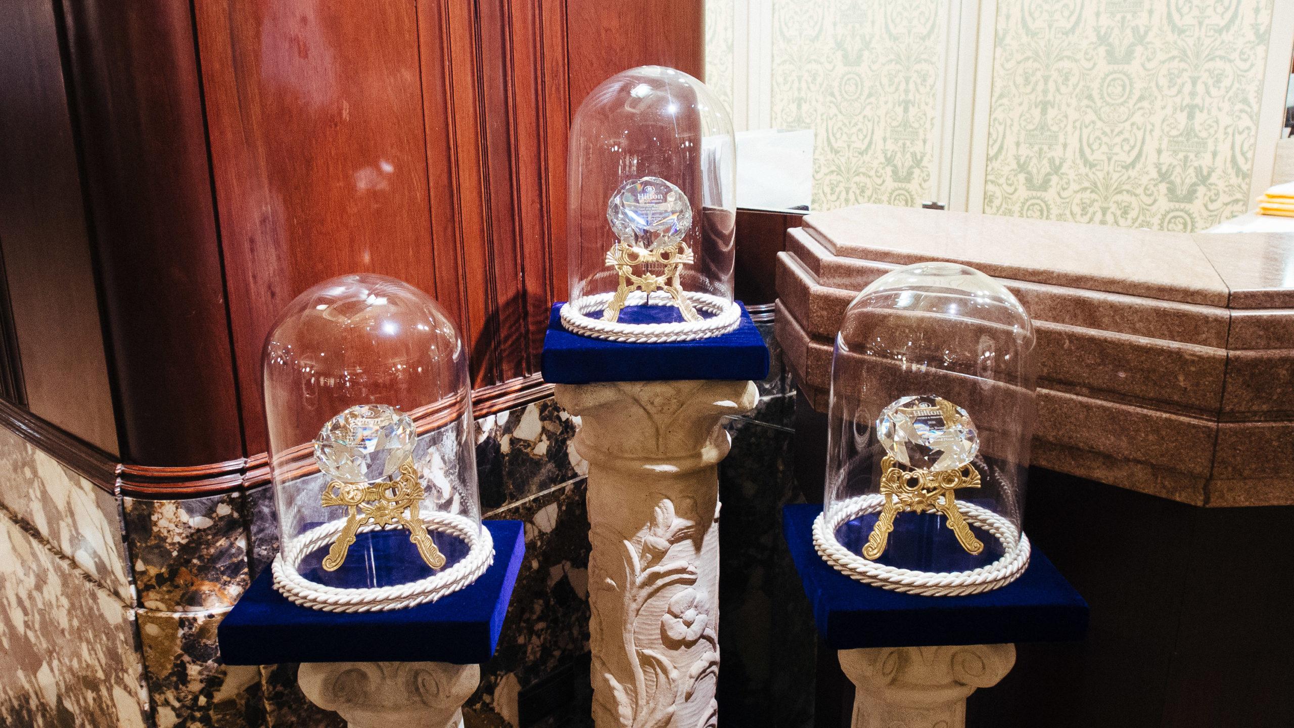 Awards in a hotel lobby