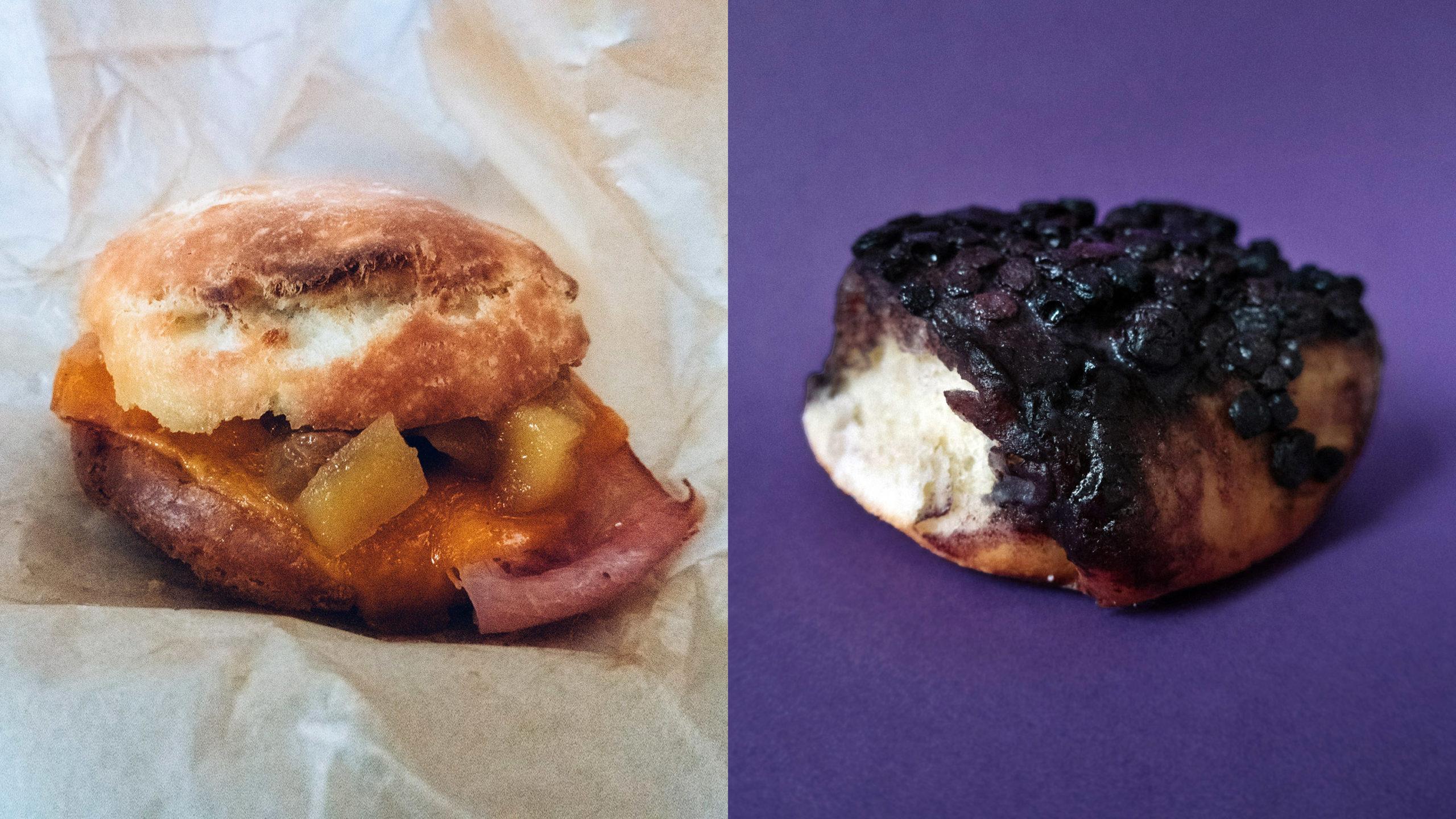 Ham Biscuit and Blueberry Schnecken