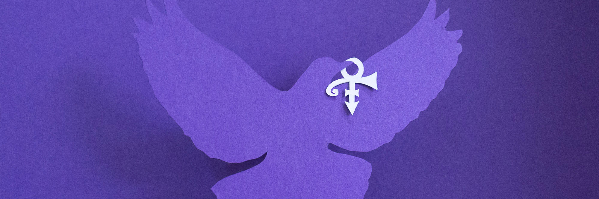 a purple dove cut out of paper with the Prince symbol