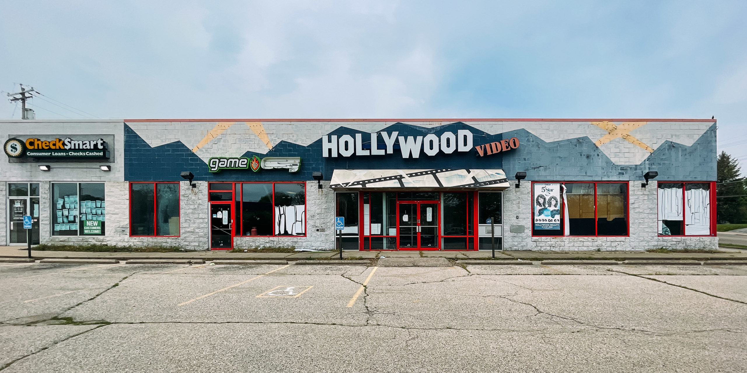 An abandoned Hollywood Video store in North College Hill Ohio