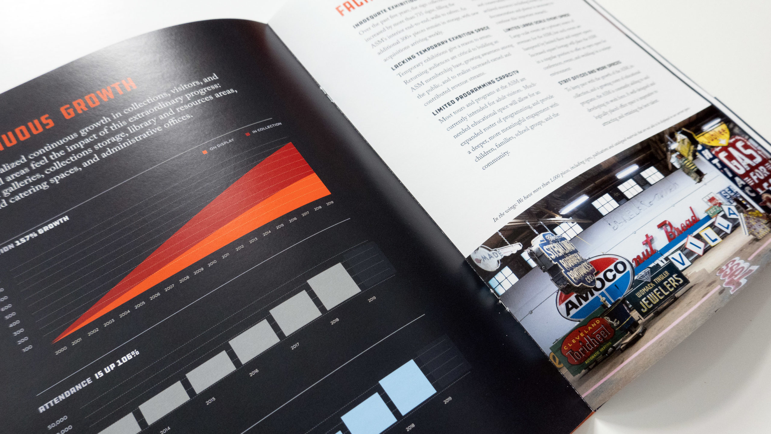 An angled spread with charts, text and a photograph