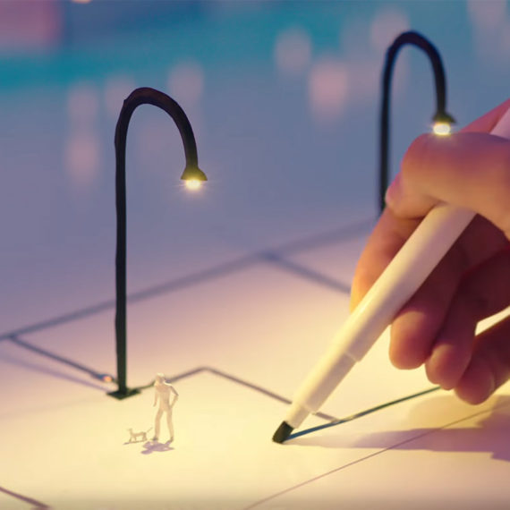 silver ink circuit pen connecting scale models of street lights