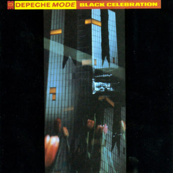 An album cover that is half a field of black with a thin photographic center that is blurry and abstract. Type across the top is in red and yellow and reads Depeche Mode, Black Celebration