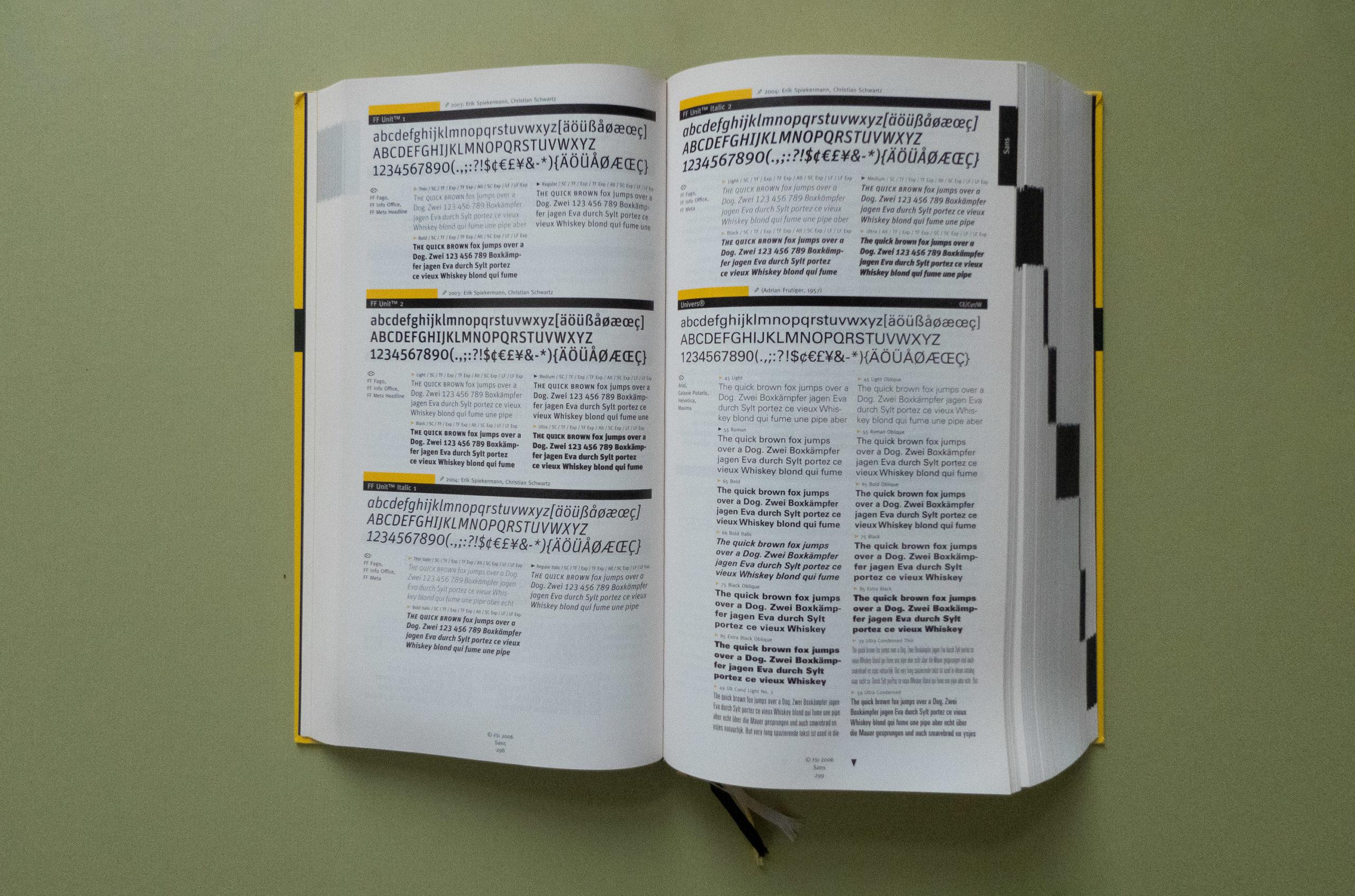 FontBook Univers sample