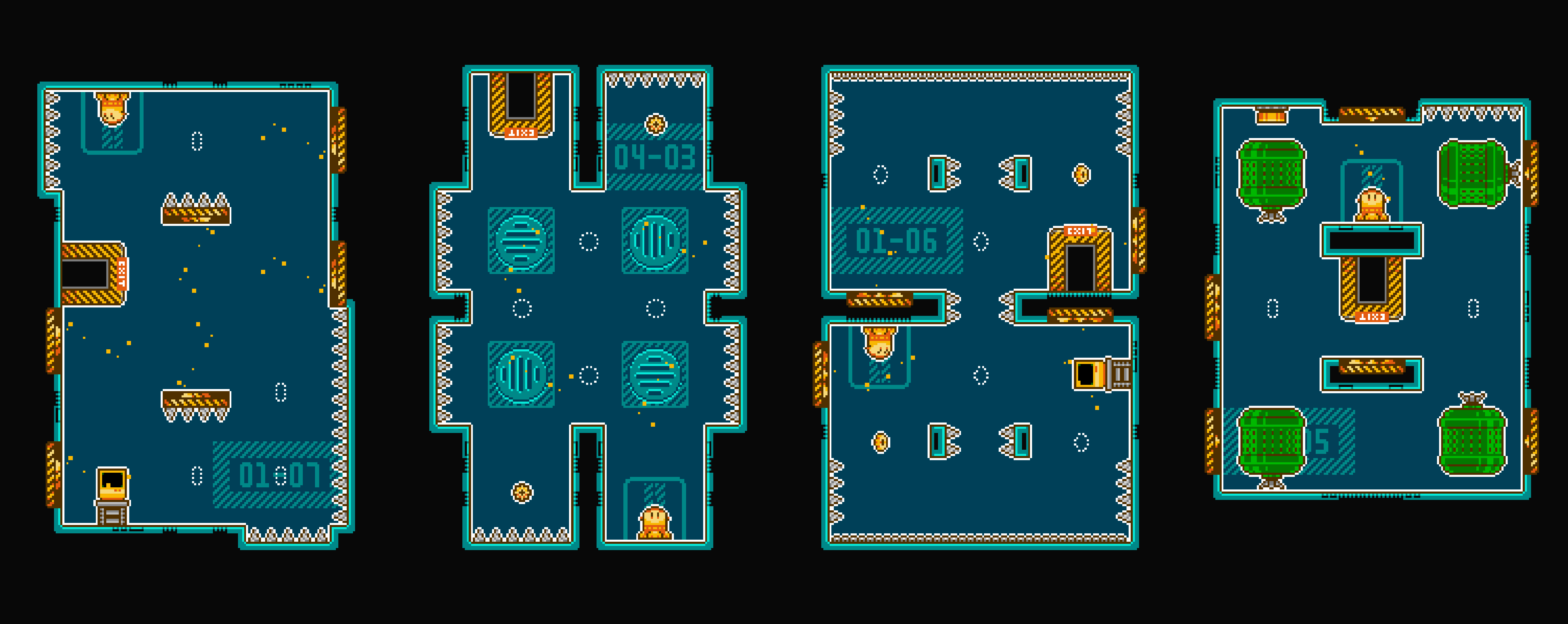 4 screens of an 8 bit style videogame for iPhone