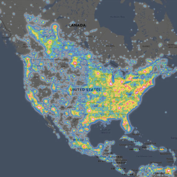 Light Pollution map of the United States