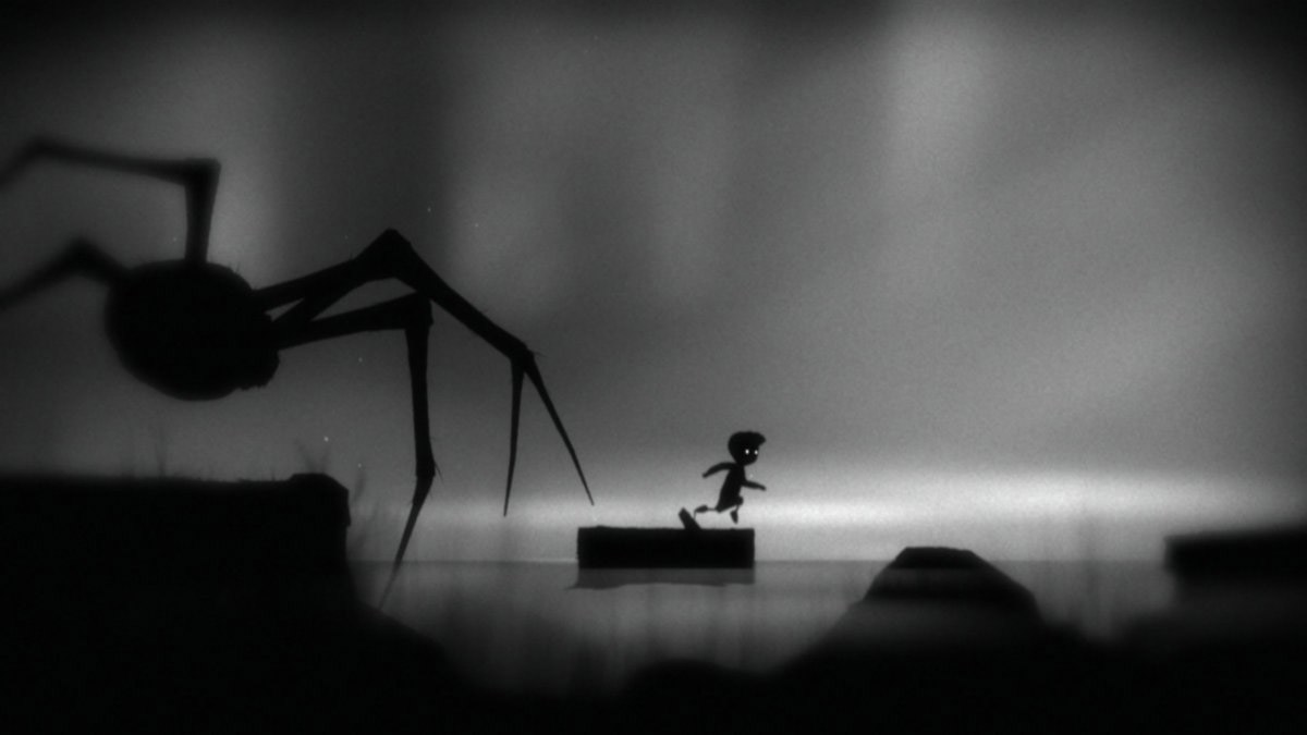 A platform videogame with a very large spider