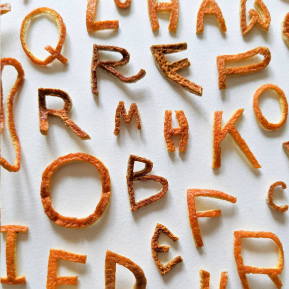 Type made of orange peels