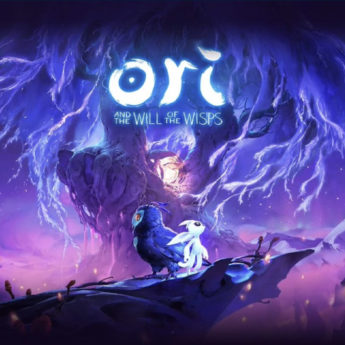 Title screen for a videogame with an owl and a ghost-like character