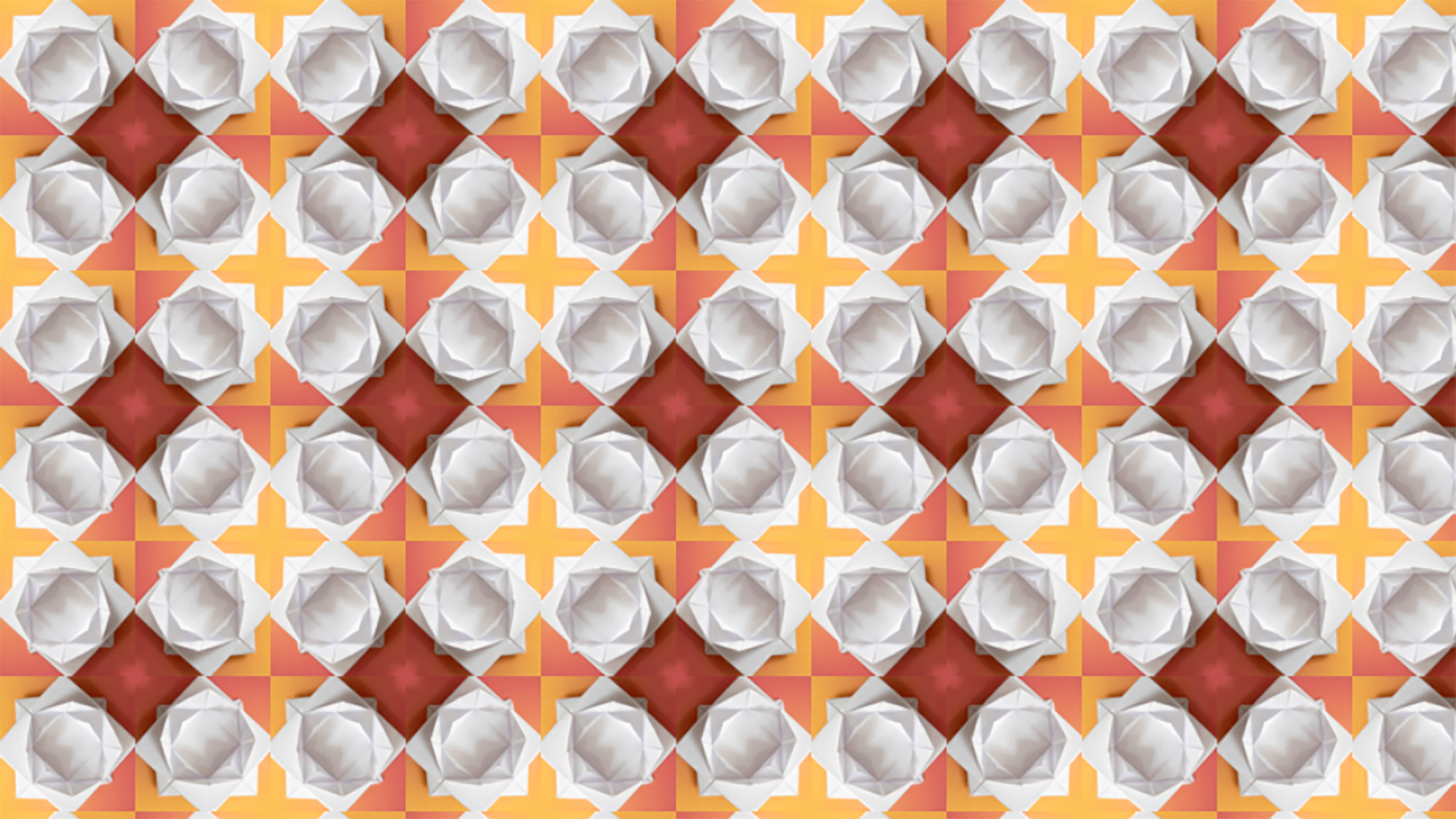 A repeating pattern of an origami lotus flower
