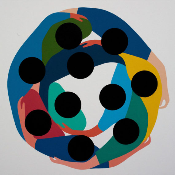An acrylic abstract painting of 10 people in a circular embrace