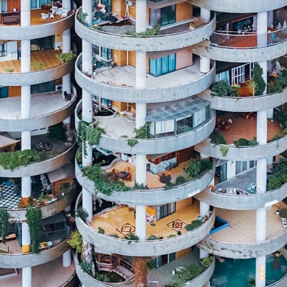 A photo of circular balconies on a high rise in China