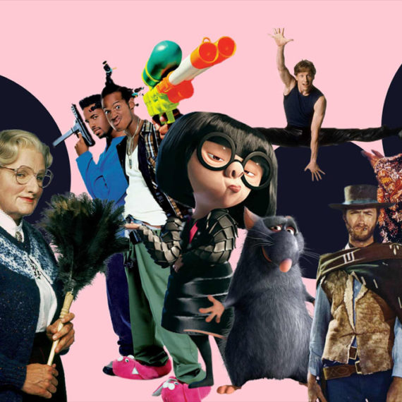A collage of movie characters on a pink background