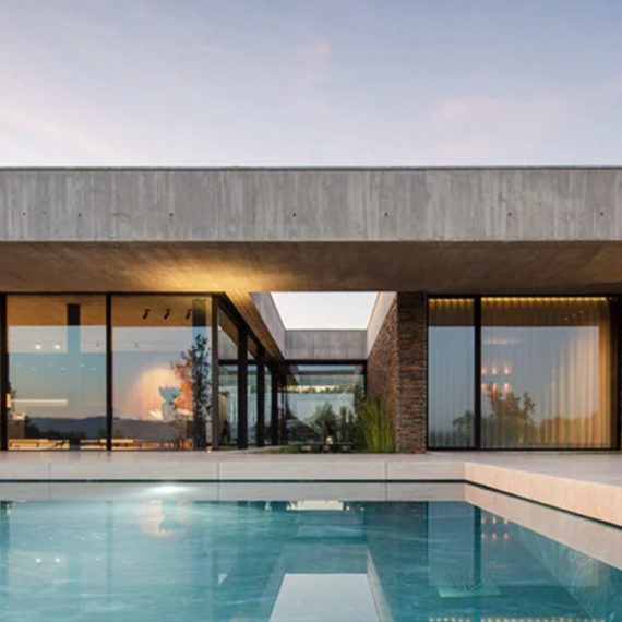 Modern house design with clean lines and a pool
