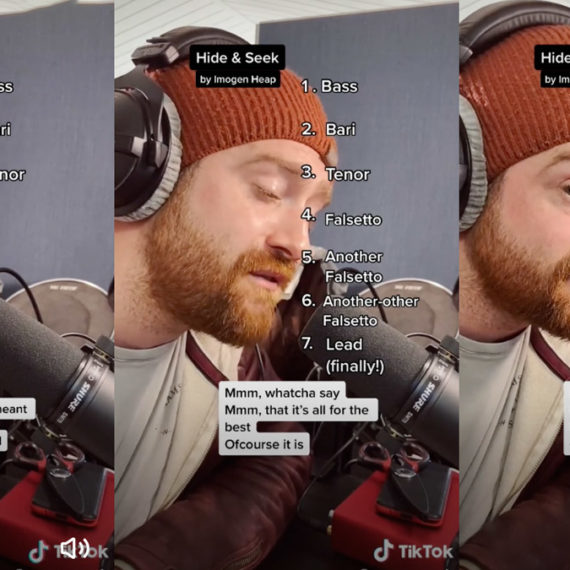 Multiple TikTok screenshots of a bearded man in a beanie singing into a microphone