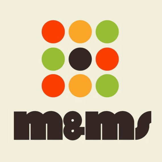 retro m&m's logo with nice colorful dots
