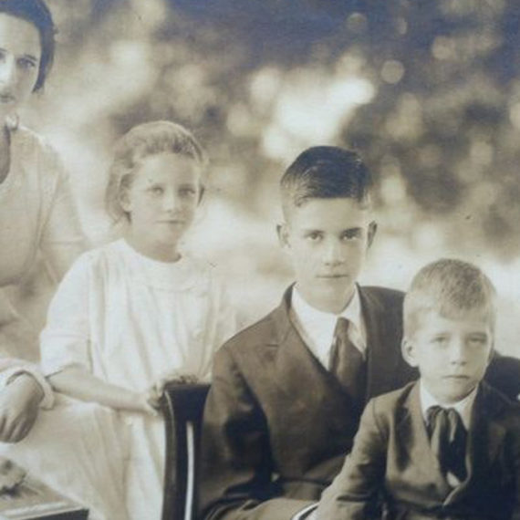 An old family photo in sepiatones