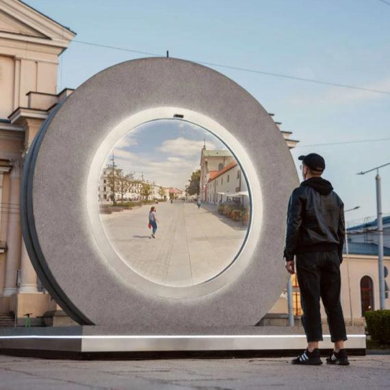 A circular video portal