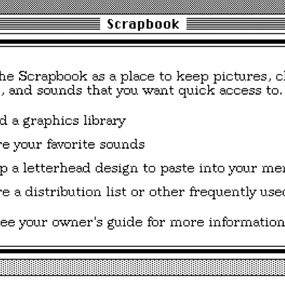 Black and white interface of the old Mac OS Scrapbook