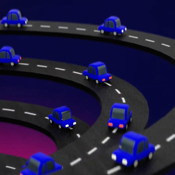 Frame of animation with blue cars circling on roads