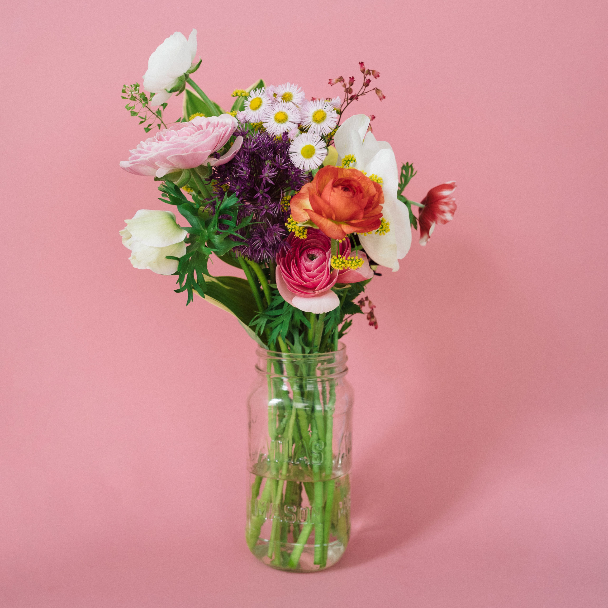A bouquet of flowers on a pink backdrop