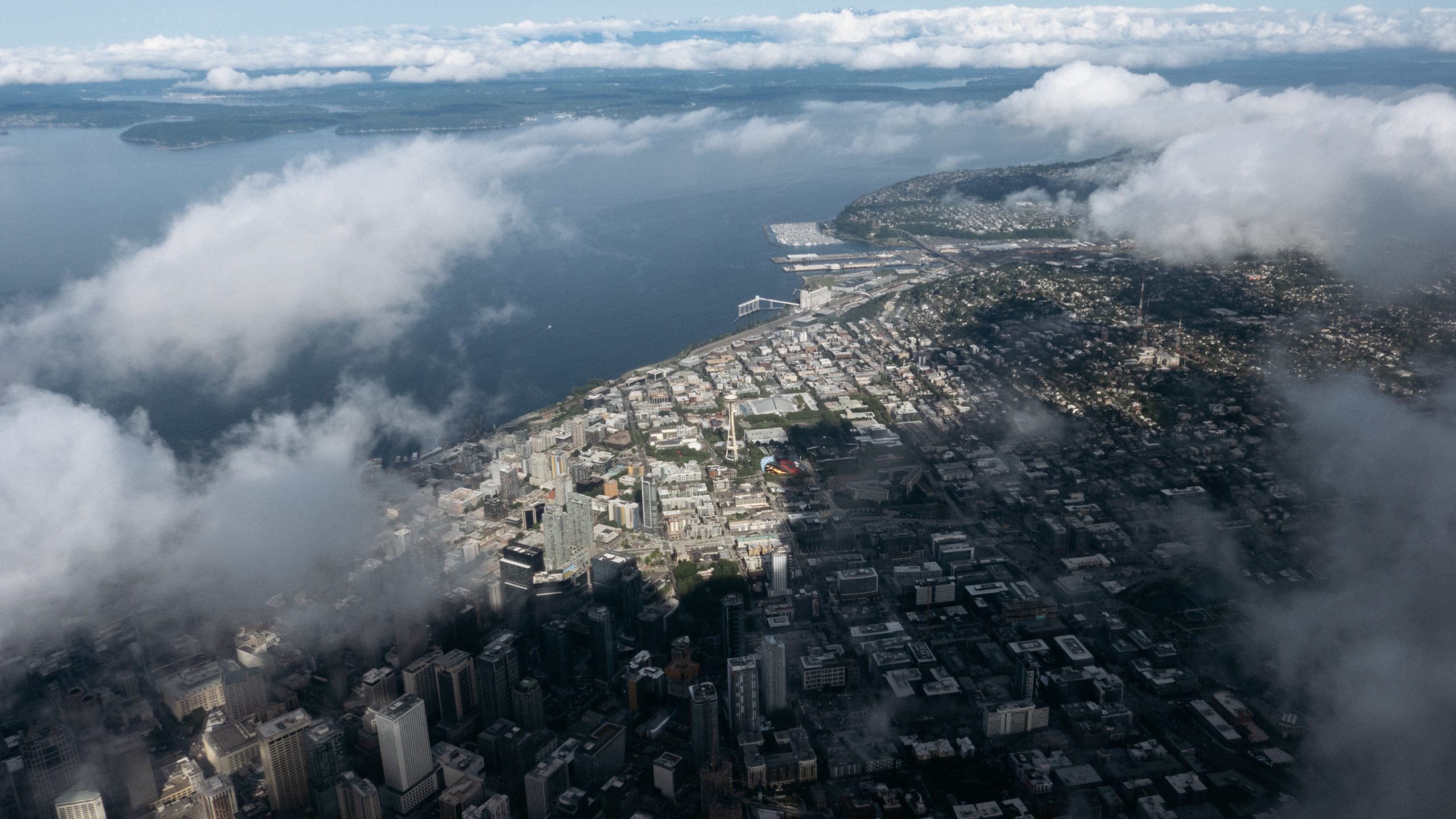 Seattle's space needle as viewed from an airplane window