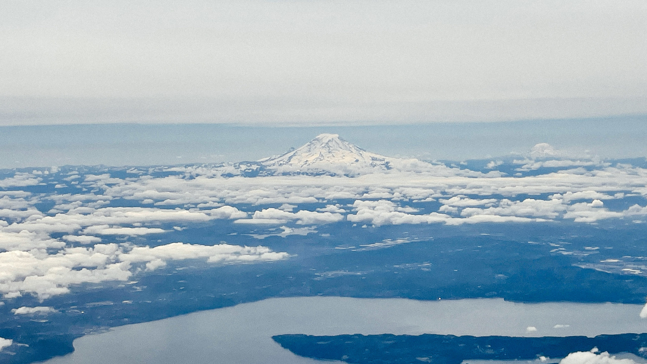 Mt. Rainier as seen from a plane window