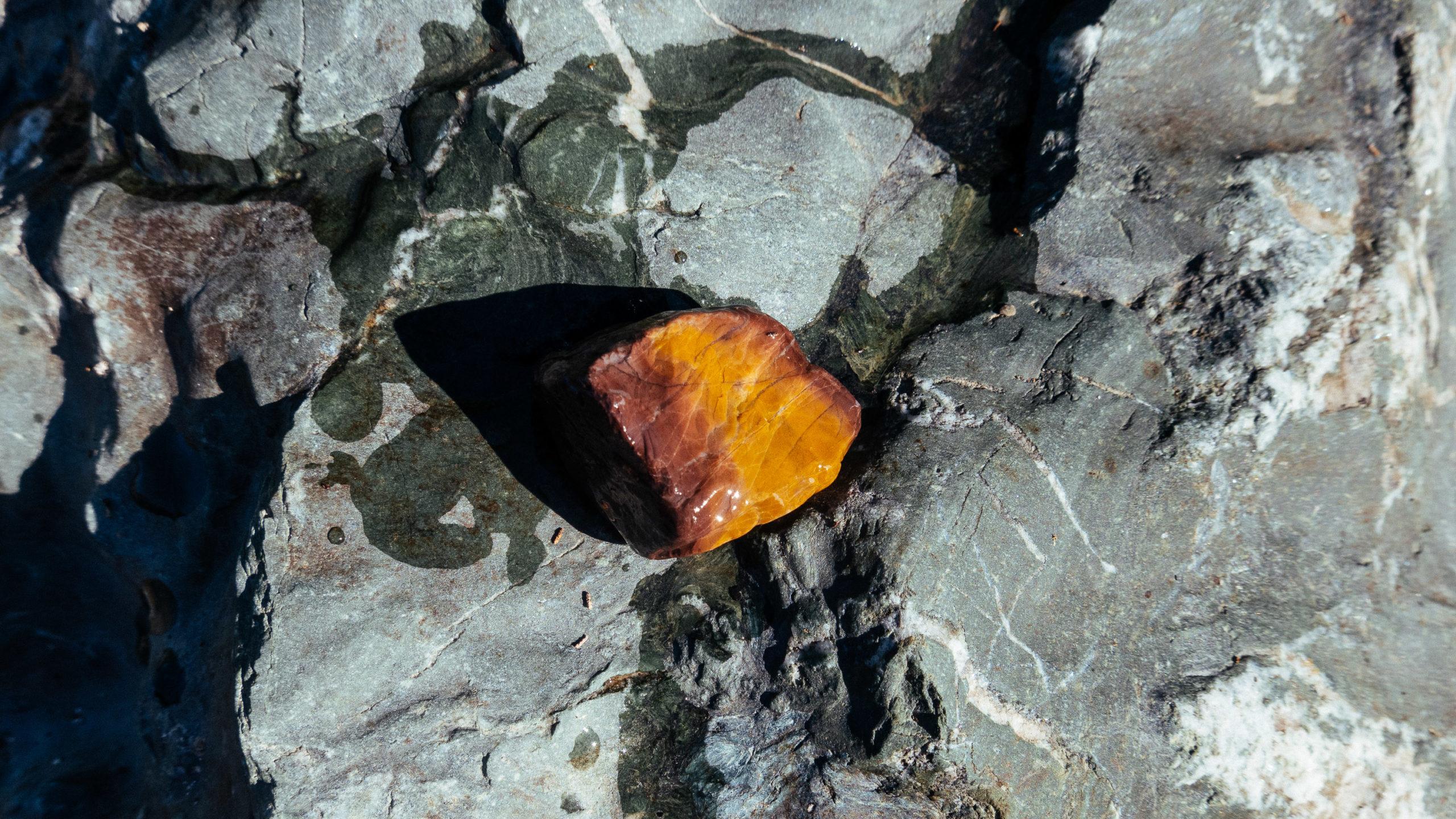 An orange colored rock