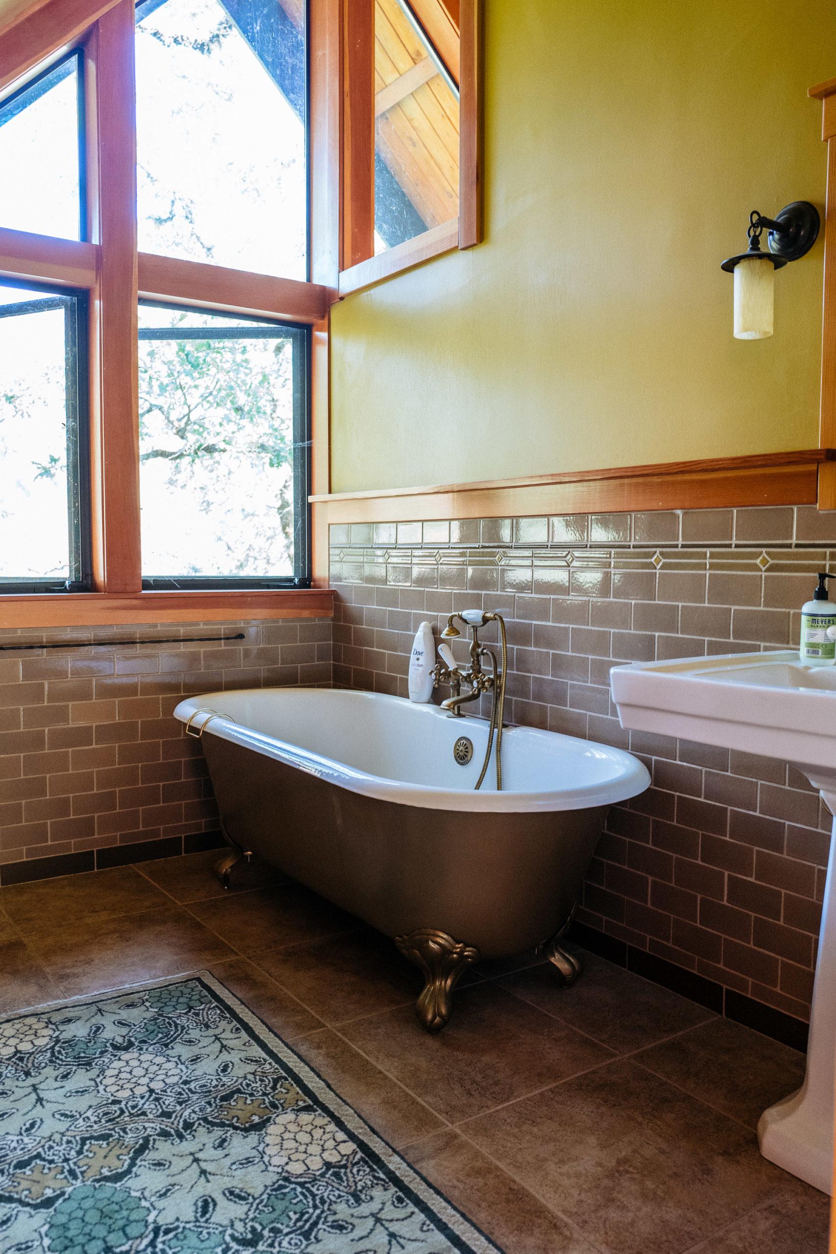 A claw footed bathtub