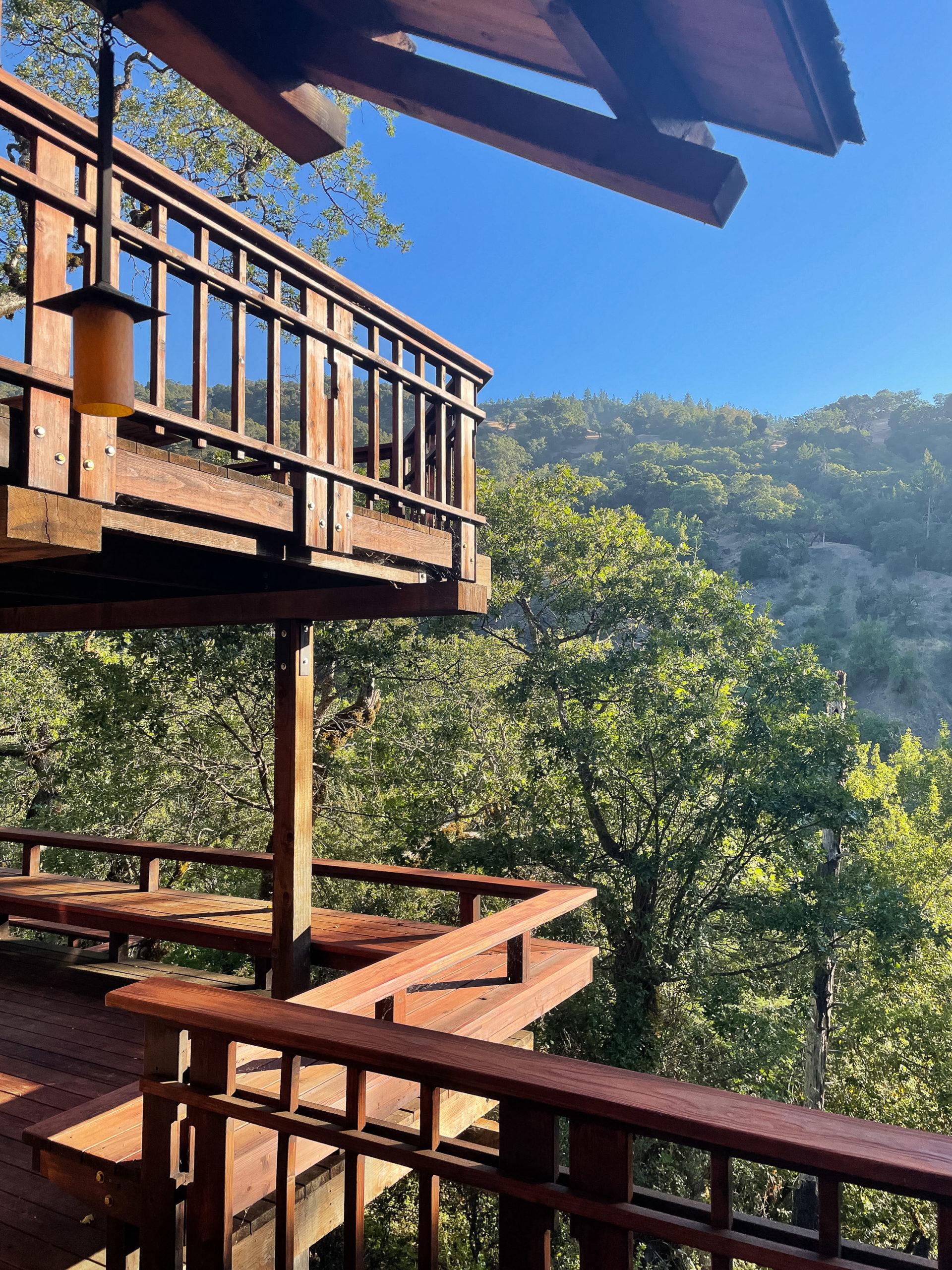 Multi-level deck and California hills