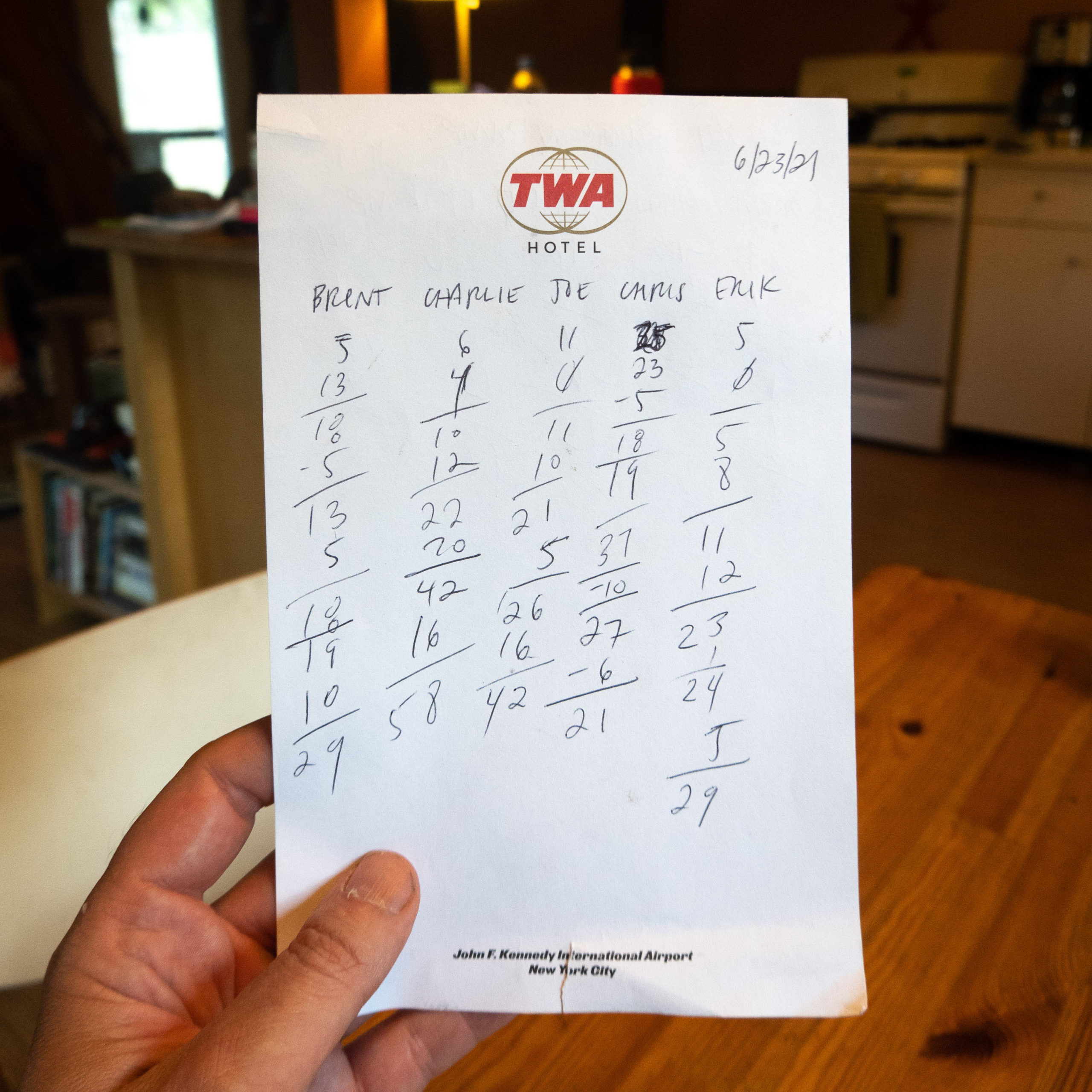 A pad of paper from the TWA Hotel in New York filled with scores for a card game