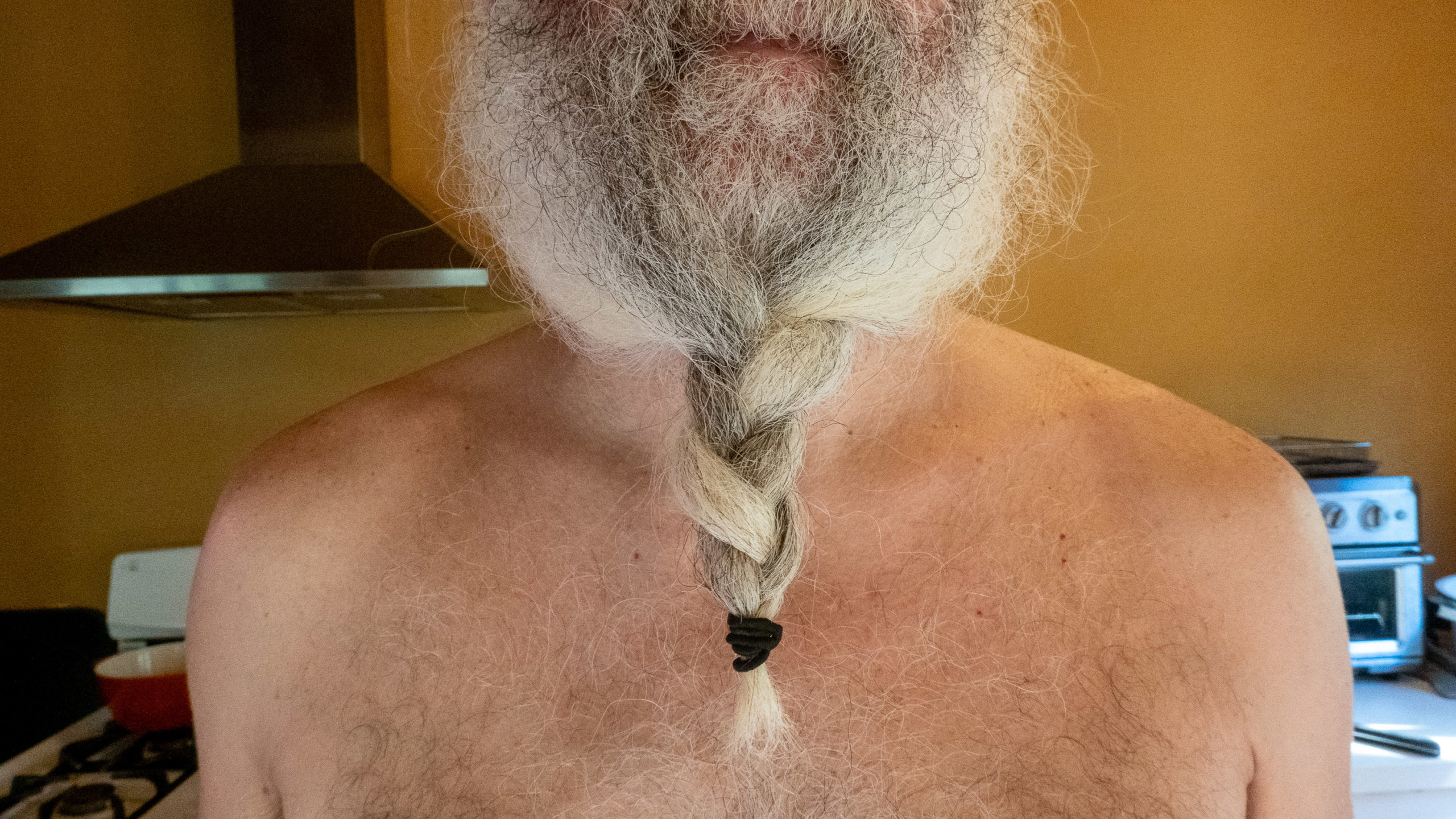 A man with a long beard that has been braided