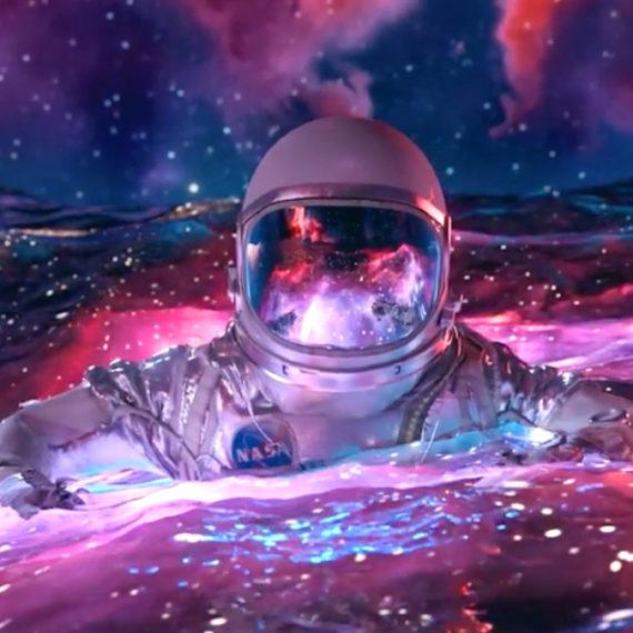 CG astronaut in a sea of stars