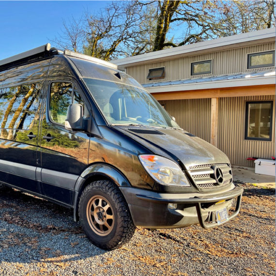 A Sprinter van converted for camping