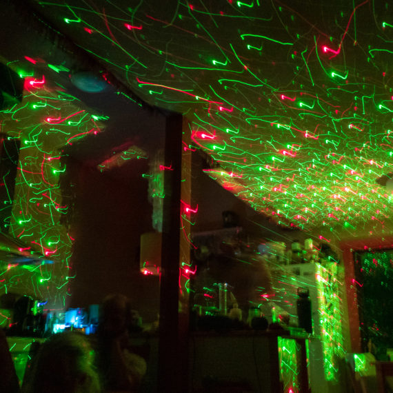 red and green, mostly green lasers