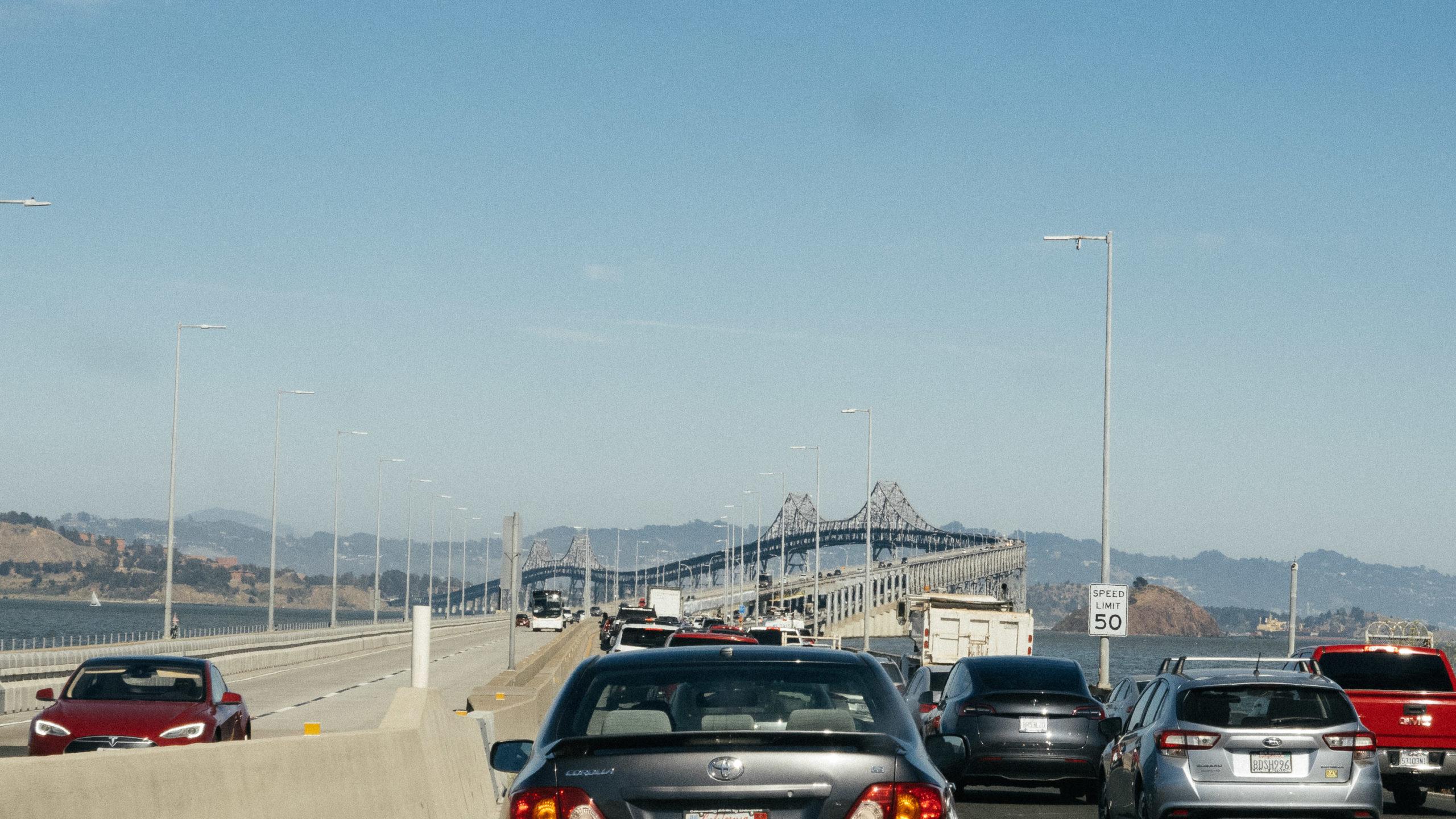 Traffic approaching a multi-level bridge