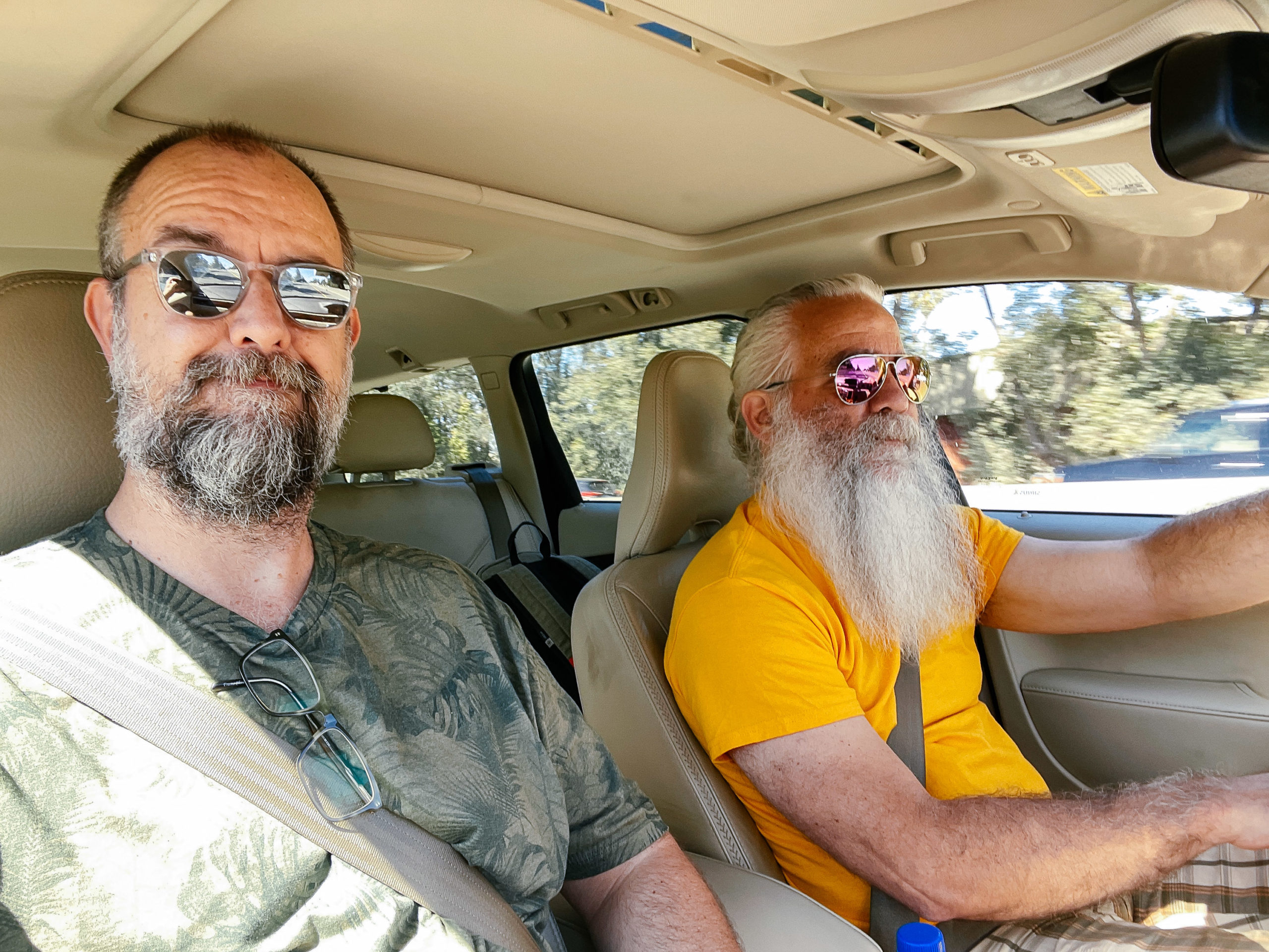 Two bearded men wearing sunglasses in a car with a tan interior