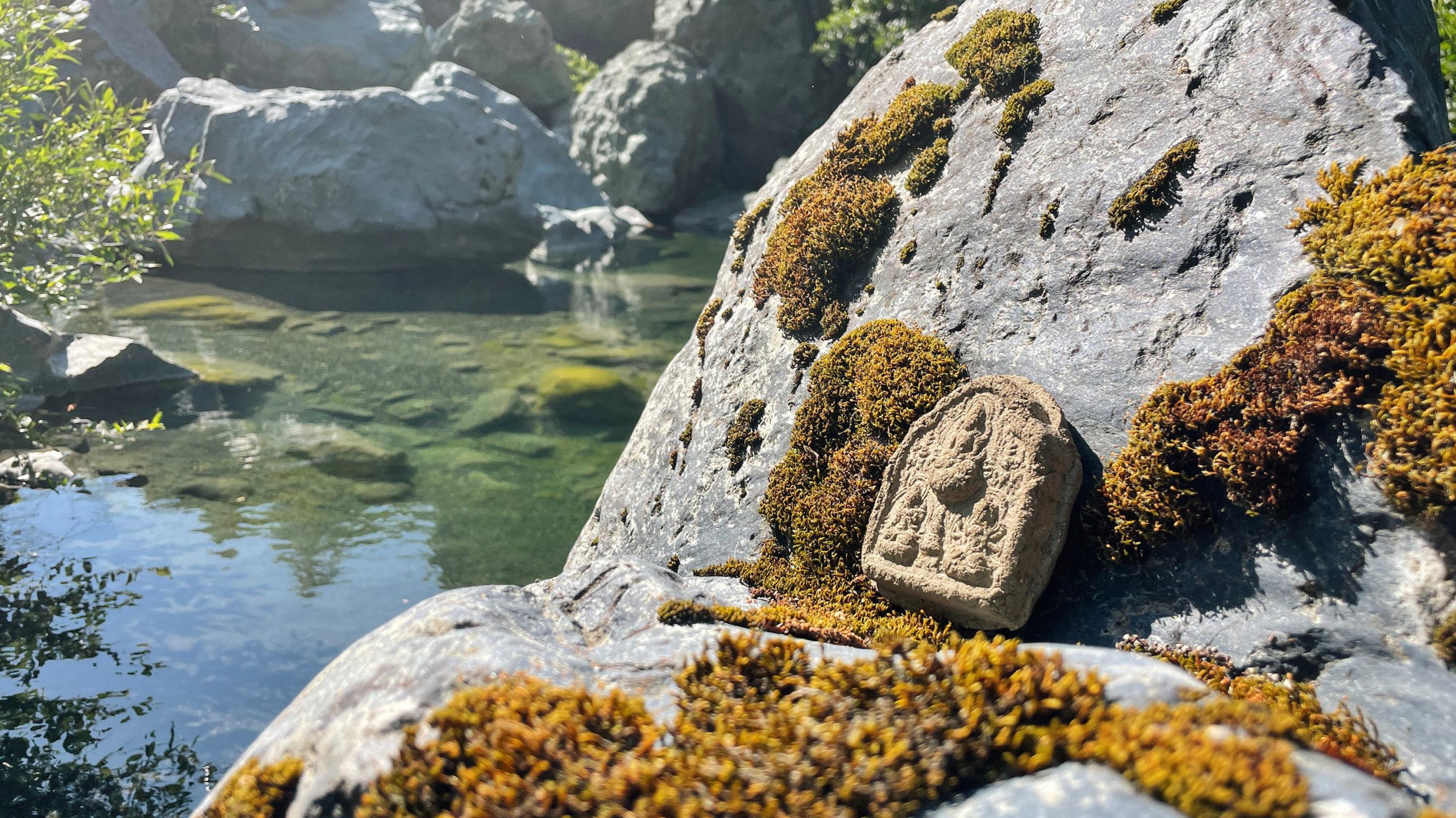 A tsa-tsa of Tara on a moss covered rock by a creek