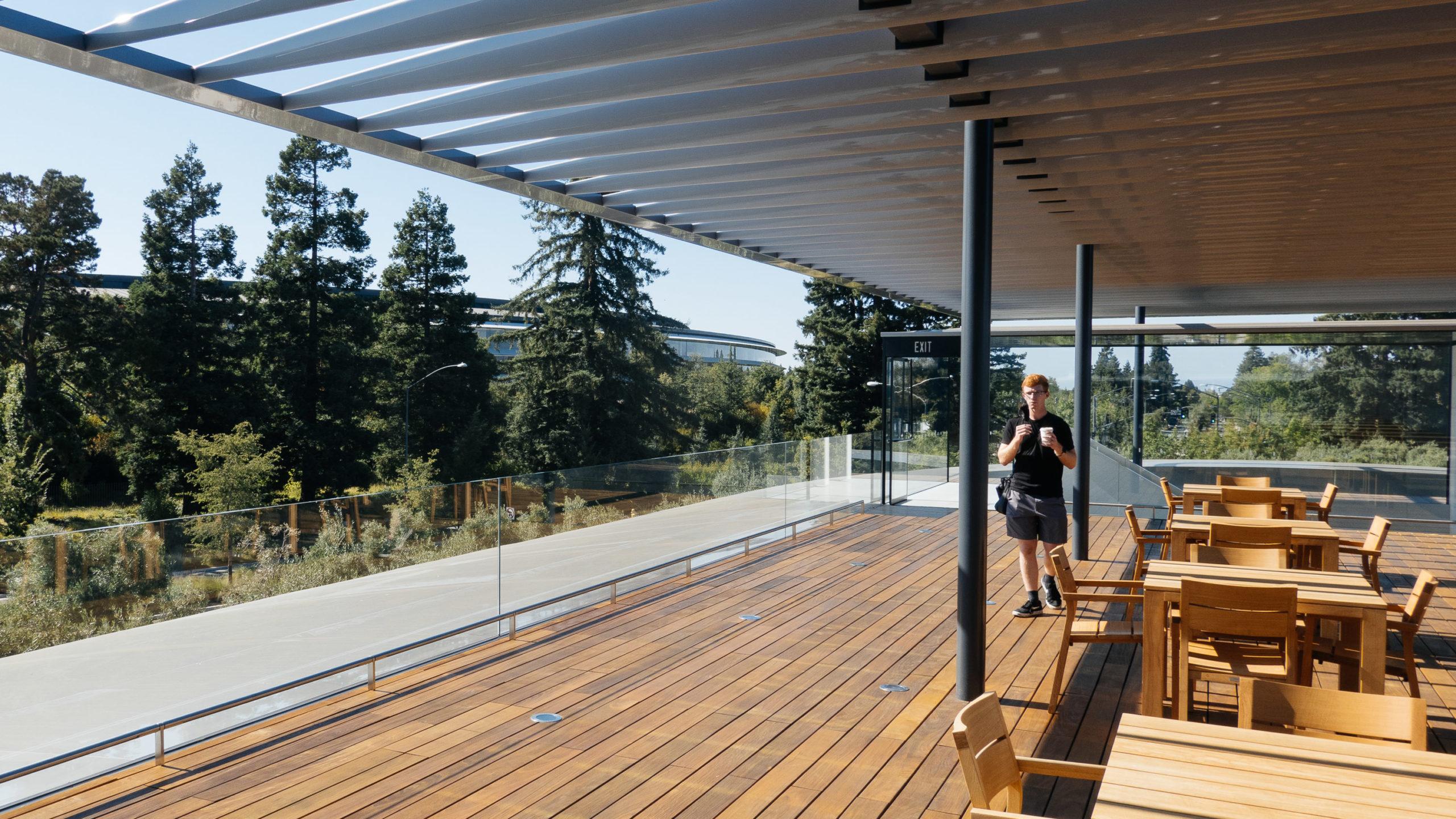 A deck overlooking Apple Park