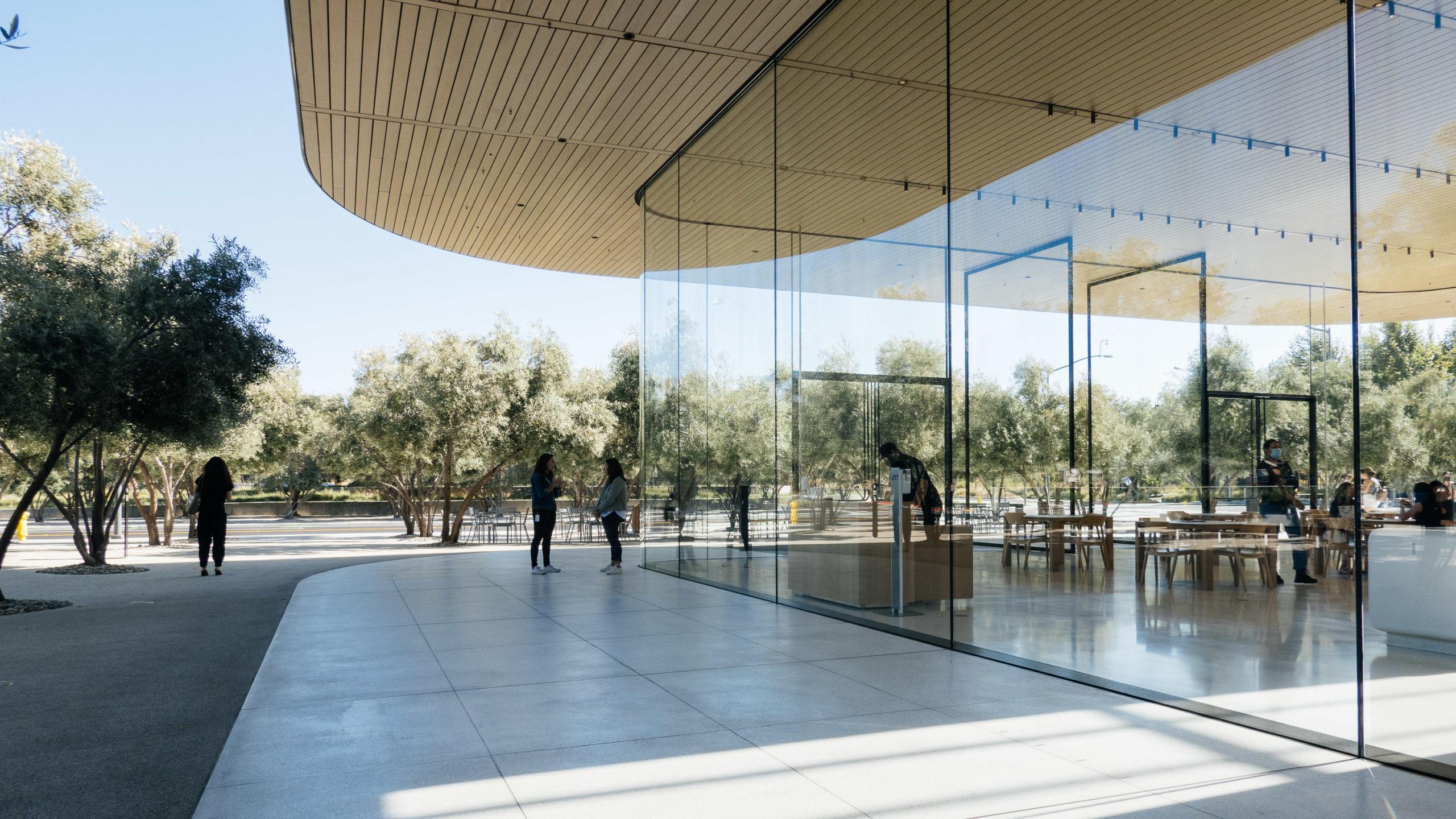 Exterior of a modern designed glass and concrete building